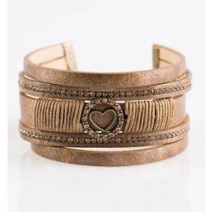 Paparazzi jewelry It Takes Heart Brass Glittery Shimmer Rhinestone Bracelet New