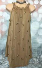 NEXT 8 BNWT Brown Sleeveless Jersey Longline Embellished Tunic Top