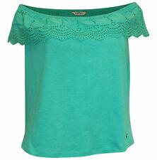 KAPORAL Off Shoulder Shirt S 36 grün Carmen Bluse Lochstickerei Volants
