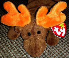 TY Chocolate Moose Beanie Baby Original 9 4th Generation PVC PELLETS 1993 RARE!