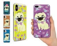 PUG LIFE FLOWER PET BONE CUTE DOG GEL PHONE CASE COVER FOR IPHONE X XR XS