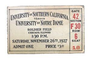 Vintage 1927 USC Vs Norte Dame Soldier Field Knute Rockne Era 1st Rivalry Game
