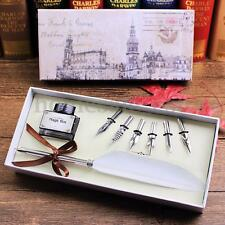 Vintage Black Quill Dip Pen Goose Feather Pen with Black Ink + 6 Nibs Set Gift