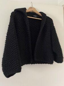 Tasmanian hand knitted Wool & Alpaca Cardigan/Shrug. Black. Unisex