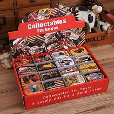1Pc Vintage USA Style Tin Box Collectible Iron Pills Case Gift Candy Can Storage