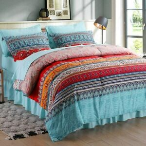 SexyTown Bed in A Bag 8 Pieces,King Size Bohemian Comforter Set,Boho Striped Bed