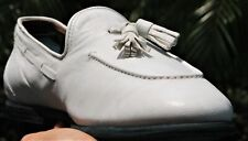 Salvatore Ferragamo  Man's white   Leather Tassel  Loafers shoes brand Size 9 D