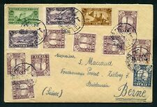 Syria Syrie 1936 Scarce cover SOUEDA to Bern with Tuberculosis labels on back