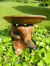 Wooden Elephant Tray Carving - Hand Carved Bowl Stand - Single Elephant