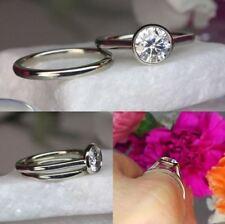 925 Sterling Silver Engagement Ring Set Bezel Set 1.50Ct Near White Moissanite