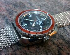 Toothed Type Stainless Steel Bezel to  Vostok Amphibian watch -  Orange Insert