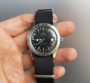 Vintage 1960's Glycine Airman Automatic Pilot Watch 314050 Vietnam Era 24 Hours