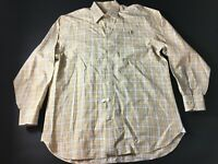 Peter Millar Mens Yellow Plaid Front Pocket Button Front Shirt Size Large