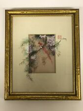 Signed J. Cheng Asian Gouache W/Watercolor Accents On Mat Of A Bird & Lilacs