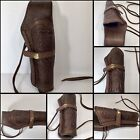 Western Leather Gun Holster Right Hand Made Real Leather Brown Tooled 38 Caliber