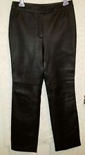 Boutique Europa Womens 100% Black Leather Pants Size 6 Inseam 31 Motorcycle