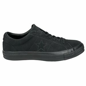 New Converse One Star Ox Triple Black Low Top Suede Sneaker 162950C