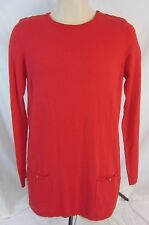 DG2 Diane Gilman Crew Neck Shirt Sweater Red Stretch Long - Women's S  - CC46
