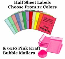 6x10 Pink Kraft Bubble Mailer + 8.5x5.5 Half Sheet Self Adhesive Shipping Labels