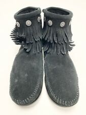 Minnetonka Ankle Moccasins Women's Sz 8 Black Leather