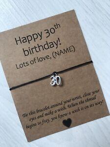 🎁 Personalised Happy 30th Birthday friendship Wish bracelet Present Gift 🎁