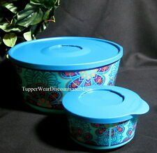 Tupperware NEW Blue Twist Stack & Stor Store STACKING Snack Bowl SERVING Set