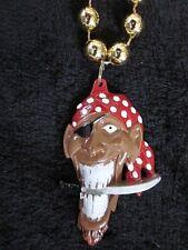 """""""Pirate"""" w/Saber in Teeth Mardi Gras Necklace Bandana Eyepatch Gasparilla (B665)"""