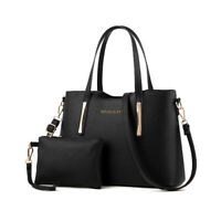 2pcs Fashion Womens Shopper Handbag Large Leather Ladies Tote Shoulder Bag