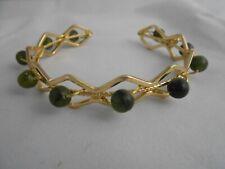 Celtic Irish Connemara Marble Gold Diamond Cuff Bracelet