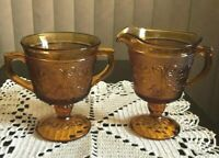 "VINTAGE INDIANA TIARA GLASS AMBER ""DAISY""CREAMER AND OPEN SUGAR ~ EXCELLENT"