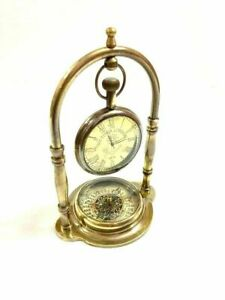Nautical Victorian London 1876 Brass Table Top Decor Clock with Compass