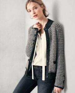 Garnet Hill Sz Medium Lambswool Blend Tweed Whipstitch-Detail Cardigan Sweater