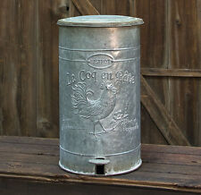 New French Country Farmhouse Chic ROOSTER TRASH CAN Metal Waste Basket Bin