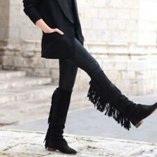 ZARA WOMAN Black Suede Leather Knee High Tall Fringe Boots rare bloggers 6.5 37