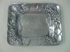 "Vintage Centrum Pewter Platter Plate Bowl w Grapes Vines Leaves 11.25"" x 9"" Rect"