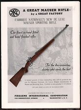 1948 MAUSER Sporting Rifle FN Fabrique Nationale Firearms International PRINT AD