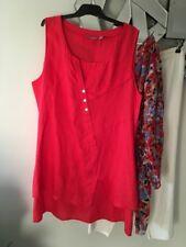 NOUVELLE Woman Orange Coral Sleeveless Linen Tunic Top PC 20