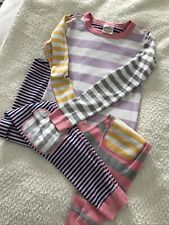 Girls Hanna Andersson 150 Size 12 Pajamas Long Sleeved Stripped Multicolor GUC