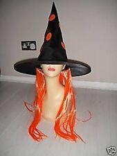 Halloween Sombrero Bruja Naranja Peluca para disfraz
