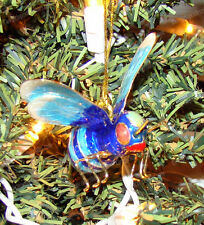 Hand-crafted Blue Bee, Wasp Ornament (Wildlife, 4823BB) Hanging Garden