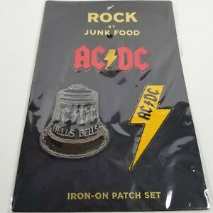 Iron-On AC/DC Rock Band Patch Set Logo, Hells Bells, Lightning Bolt by Junk Food