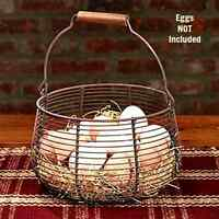 New Primitive Shabby Farmhouse Chic RUSTY WIRE EGG BASKET Vegetable Fruit Bowl