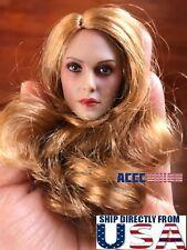 "1/6 Female Head Sculpt Long Blonde Curly Hair For 12"" PHICEN TBLeague Figure USA"
