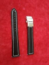 APOLLO 18mm BLACK Leather Watch Strap, Deployment Clasp, Extra Long, Heavy,