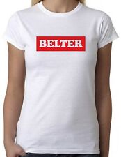 BELTER White T-Shirt B with Red Print - Cool Slogan Statement Tee Scottish