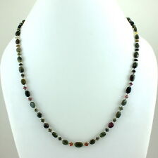 925 SOLID STERLING SILVER NATURAL TOURMALINE GEMSTONE BEADED NECKLACE 18 GRAMS