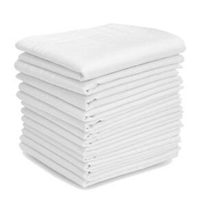 12 PACK PLAIN CHECK LARGE POCKET SQUARE WHITE COTTON HANDKERCHIEFS MENS HANKIES