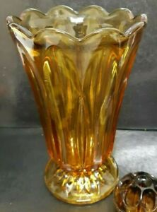 Vintage Amber Tall Art Deco Vase and Frog 8.6 x 5 Inches