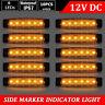 10x Amber 12V 6 LED Side Marker Indicators Lights Lamp Truck Trailers Lorry RV
