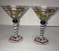 Martini Glasses Hand Painted with Green Olives Set of 2